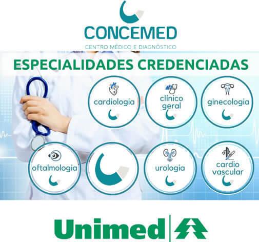 ESPECIALIDADES CONVENIADAS COM A UNIMED